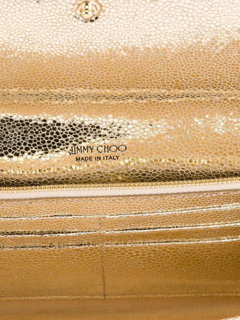 Jimmy Choo Milla Champagne Glitter Fabric Handbag GFA/144 at_Queen_Bee_of_Beverly_Hills
