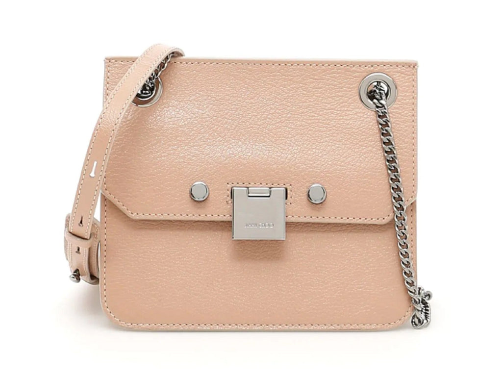 Jimmy Choo Mini Ballet Pink Rebel Cross Body Bag Silver Chain Strap REBEL/XB at_Queen_Bee_of_Beverly_Hills