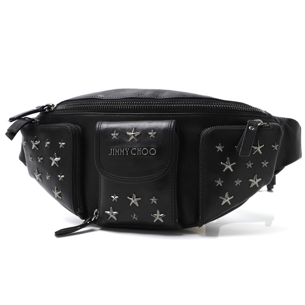 Jimmy Choo Orion Black/Gunmetal Leather Biker Stars Waist Pouch Handbag BLS/183 at_Queen_Bee_of_Beverly_Hills