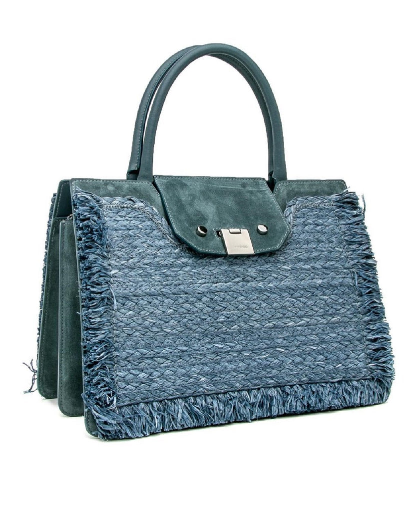 Jimmy Choo Rebel Tote Raffia Suede Blue Dusk Front Clasp Handbag RFD181 at_Queen_Bee_of_Beverly_Hills