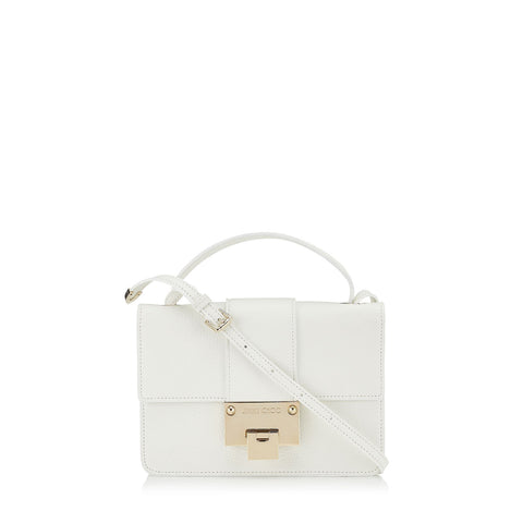 Jimmy Choo White Grainy Calf Leather Silver Hardware Cross Body Bag OGRC|028 at_Queen_Bee_of_Beverly_Hills