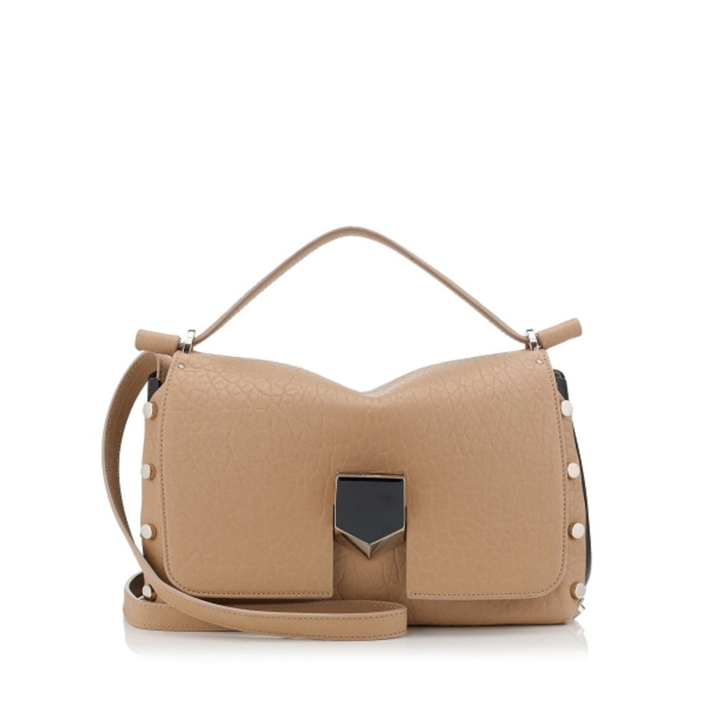 Jimmy Choo Women's Beige Grainy Leather Tan Leather Satchel Handbag GLQ187 at_Queen_Bee_of_Beverly_Hills