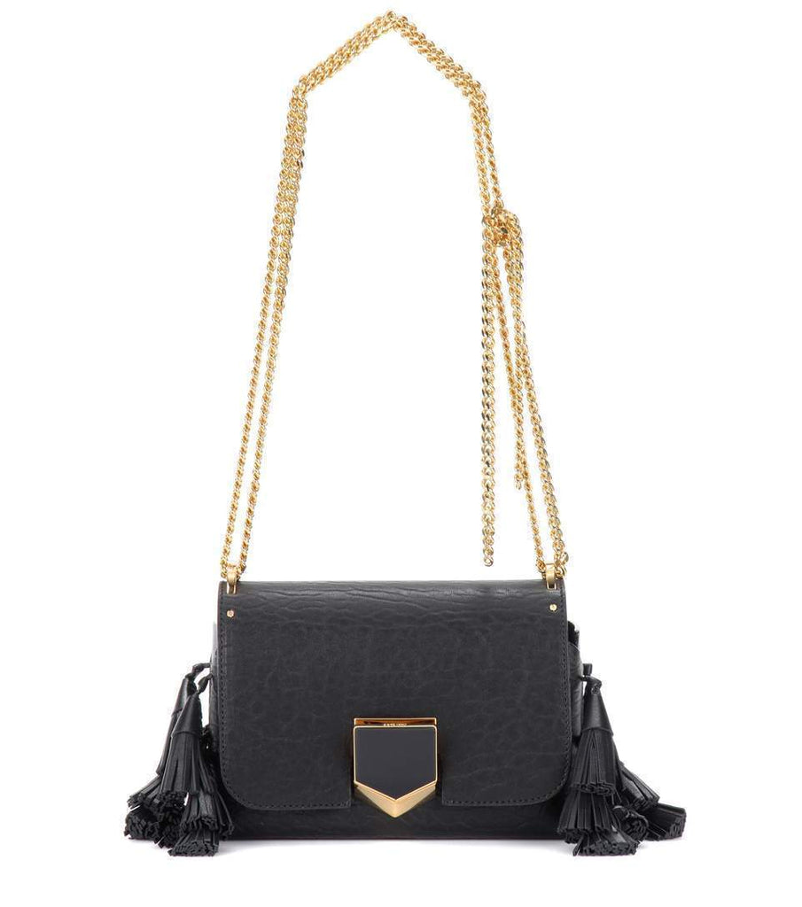 Jimmy Choo Women's Black Fringed Lockett Petite Crossbody Bag GAL010003 at_Queen_Bee_of_Beverly_Hills