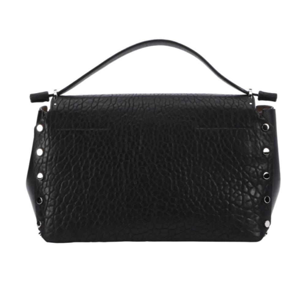 Jimmy Choo Women's Black Grainy Leather Handbag Snap Lock Closure GLQ153 at_Queen_Bee_of_Beverly_Hills