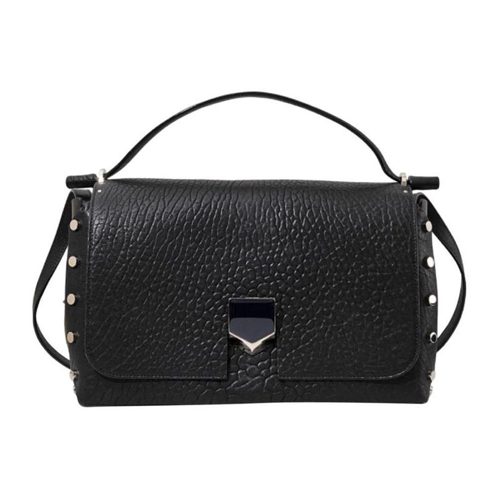 Jimmy Choo Women's Black Grainy Leather Small Handbag Snap Lock Closure GLQ153 at_Queen_Bee_of_Beverly_Hills