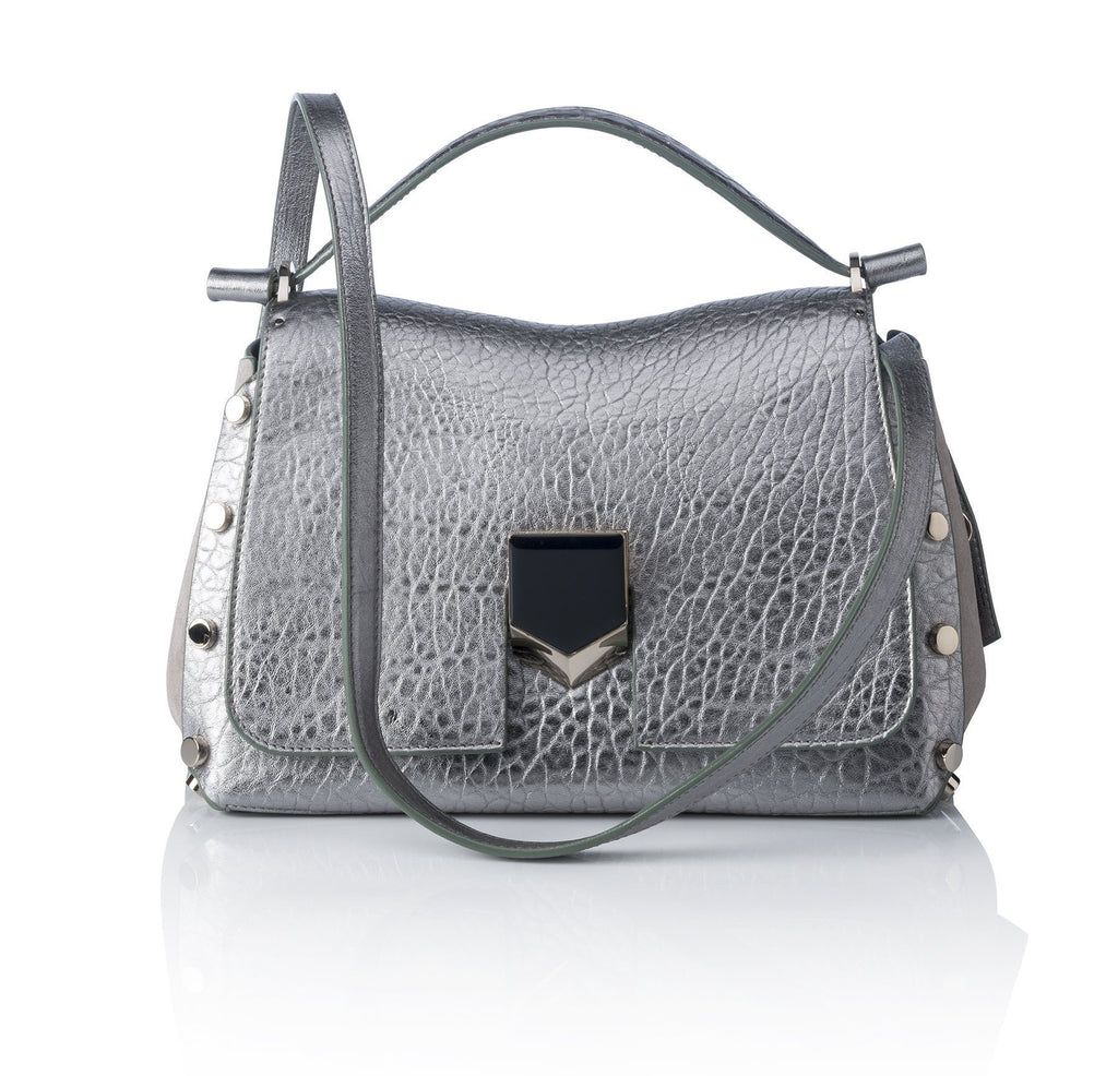 Jimmy Choo Women's Metallic Silver Grainy Leather Satchel Handbag MGL016 at_Queen_Bee_of_Beverly_Hills