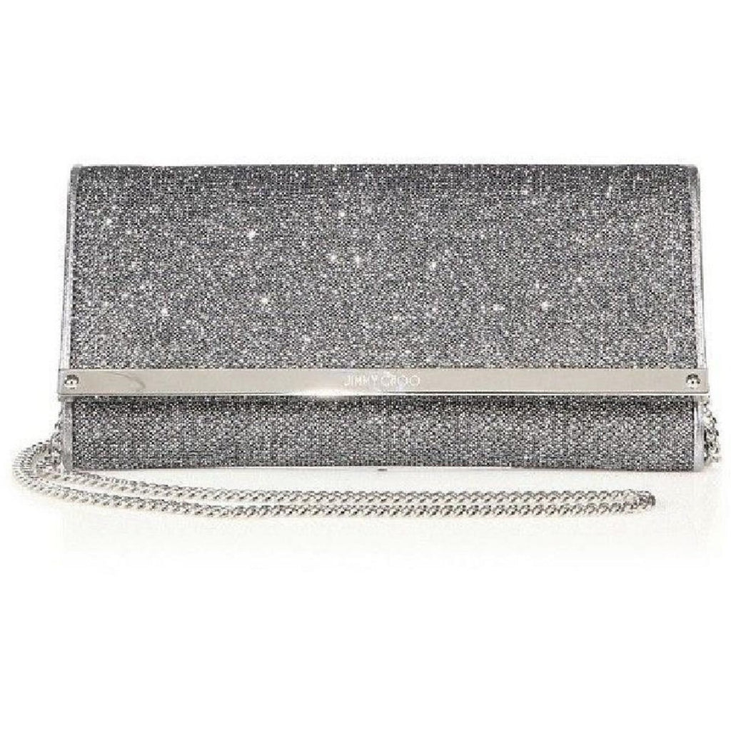 Jimmy Choo Women's Milla Glitter Metallic Anthracite Silver Clutch Bag LAG144 at_Queen_Bee_of_Beverly_Hills