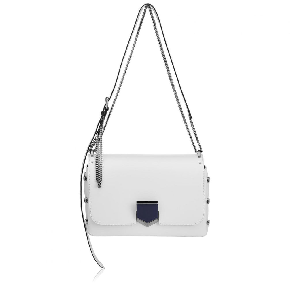Jimmy Choo Women's Optic White Chrome Lockett Handbag SBKOpticWhite at_Queen_Bee_of_Beverly_Hills