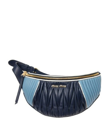 Miu Miu Baby Blue and Navy Nappa Leather Fanny Pack Pouch Handbag 5BL008 at_Queen_Bee_of_Beverly_Hills