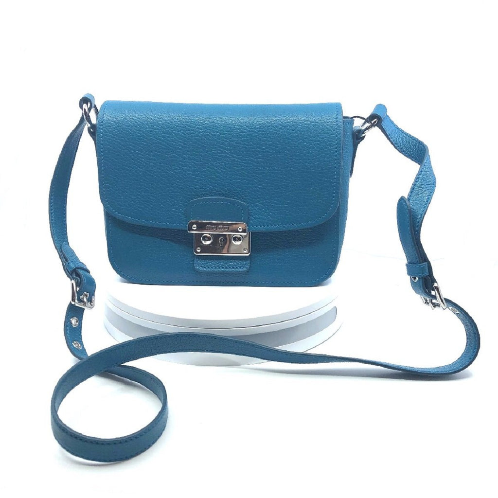 Miu Miu Bandoliera Blue Leather Cross Body Handbag w Silver Hardware 5BH638 at_Queen_Bee_of_Beverly_Hills