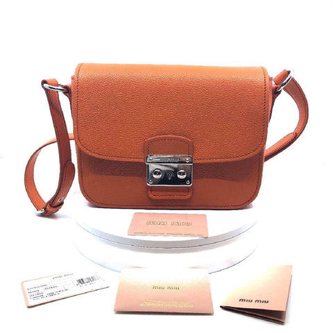 Miu Miu Bandoliera Orange Leather Cross Body Handbag w Silver Hardware 5BH638 at_Queen_Bee_of_Beverly_Hills