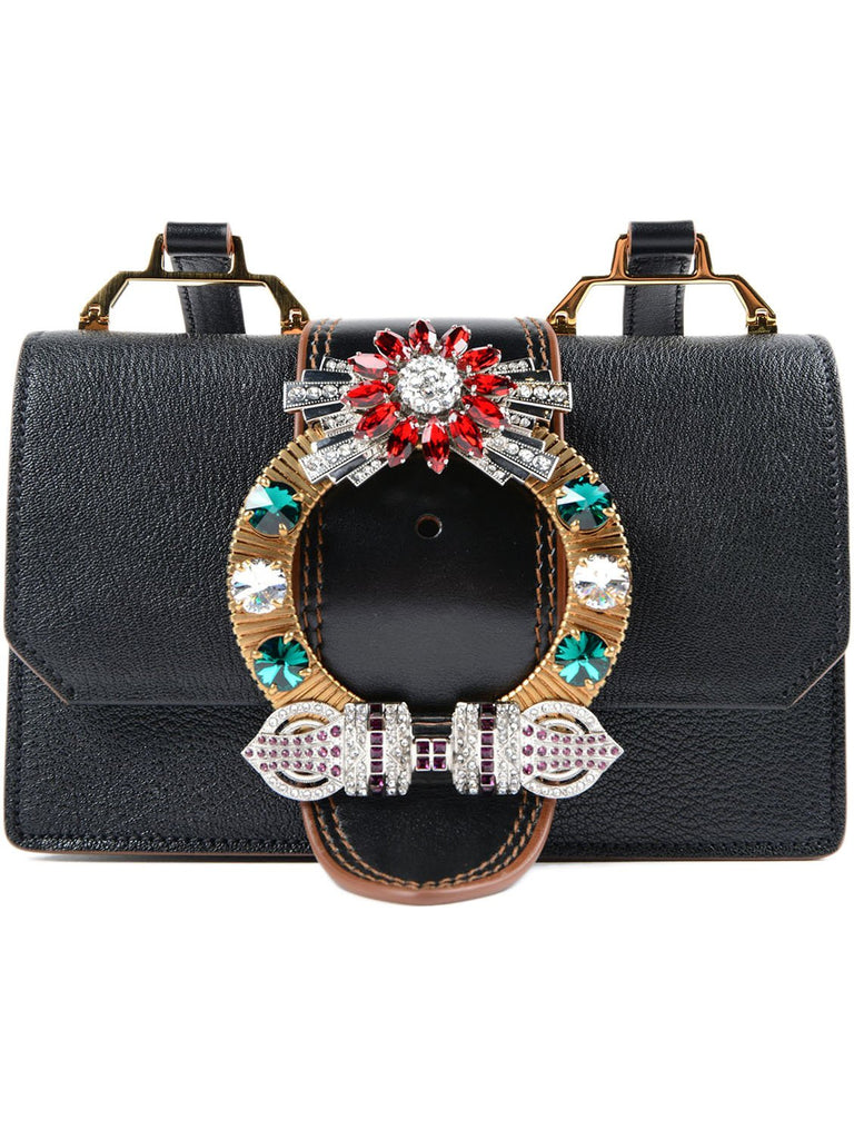 Miu Miu Black Leather Madras Crossbody with Rhinestone Detail 5BH609 at_Queen_Bee_of_Beverly_Hills