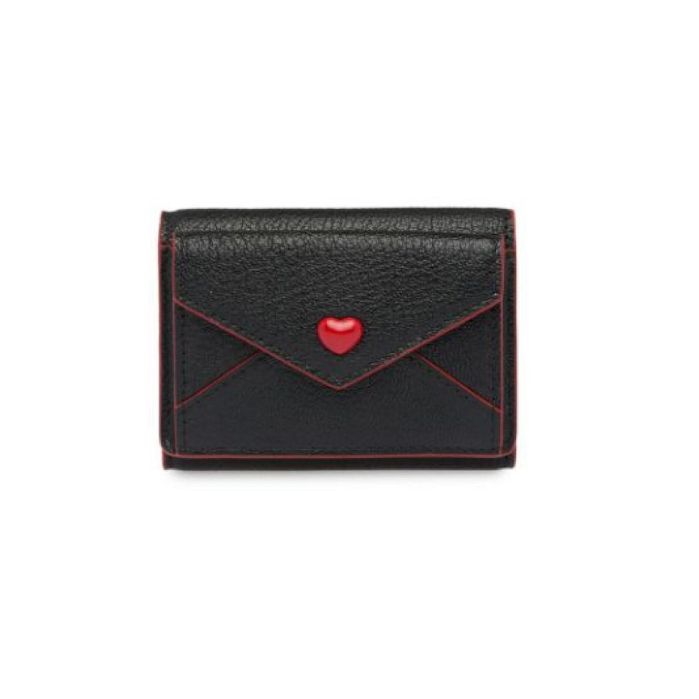 Miu Miu Black Madras Forever Small Love Envelope Card Case Leather Wallet 5MH021 at_Queen_Bee_of_Beverly_Hills
