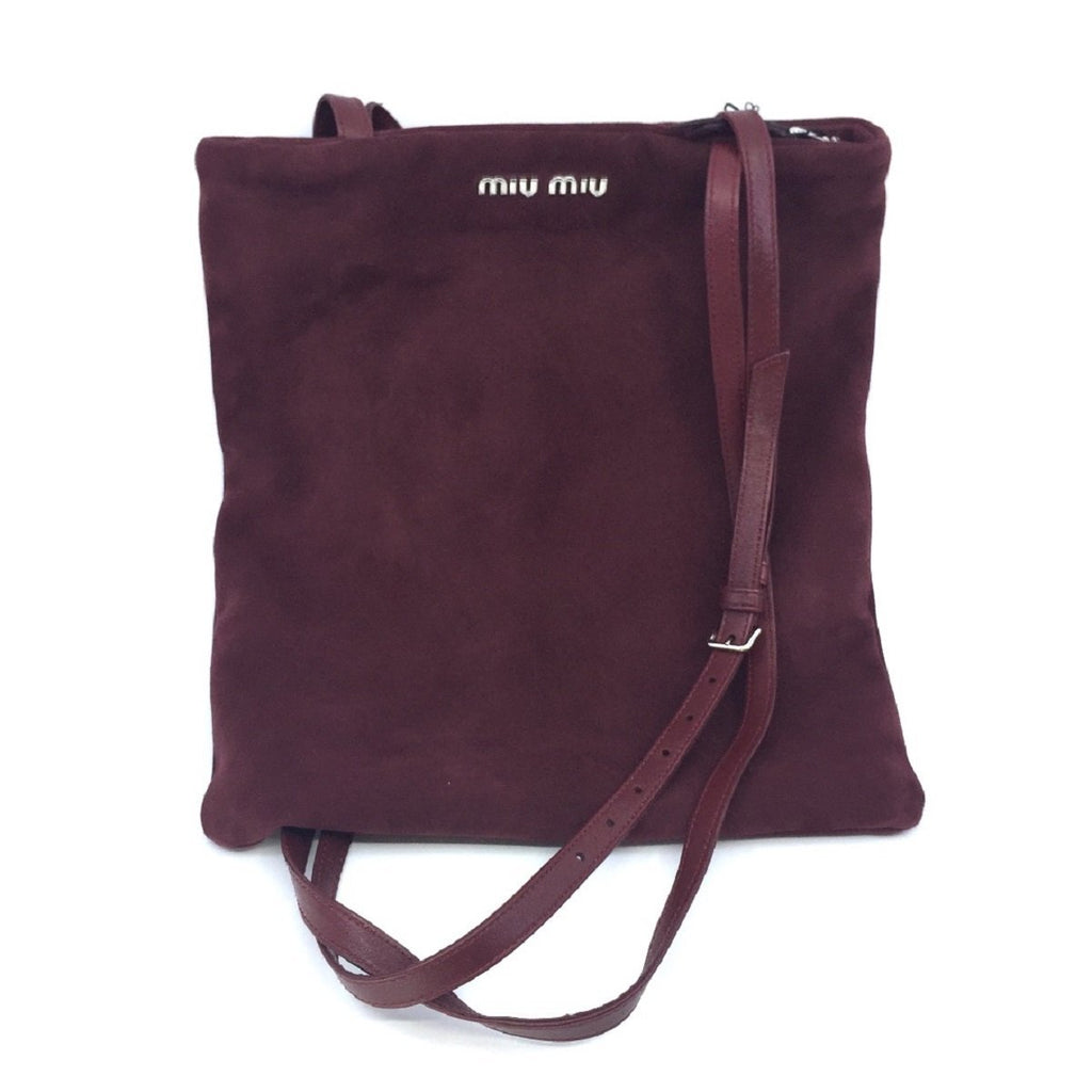 Miu Miu Camoscio Maroon Suede Shoulder Hand Shopping Bag 5BG011 at_Queen_Bee_of_Beverly_Hills