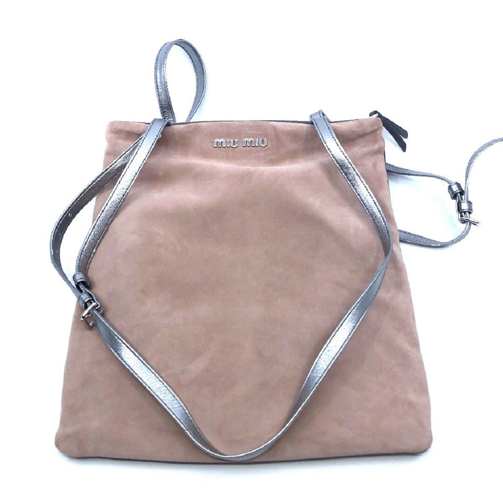 Miu Miu Camoscio Pink and Gray Suede Shoulder Hand Shopping Bag 5BG011 at_Queen_Bee_of_Beverly_Hills