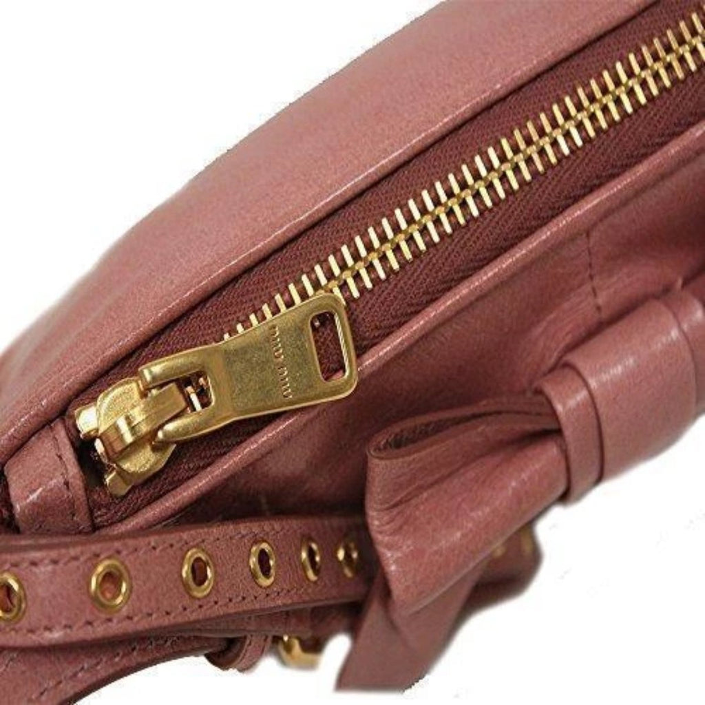 Miu Miu Classic Vitello Light Pink Leather Bow Wristlet Bag Small 5N1681 at_Queen_Bee_of_Beverly_Hills