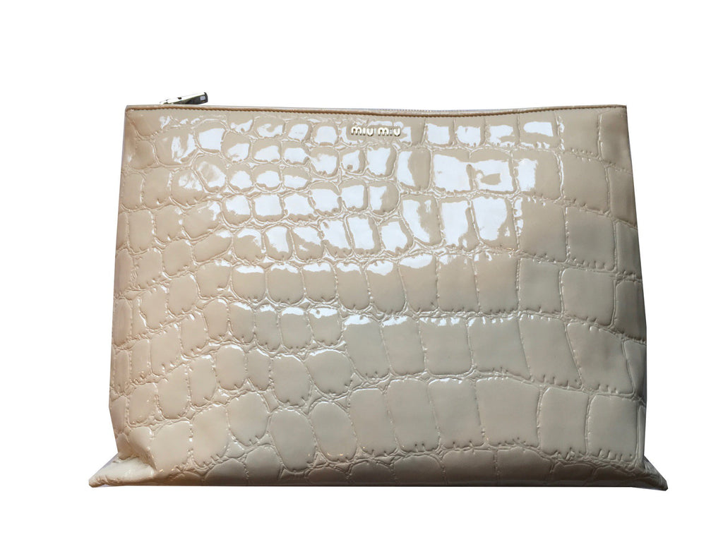 Miu Miu Classic Women's Beige Patent Leather Alligator Large Clutch Bag 5BF029 at_Queen_Bee_of_Beverly_Hills