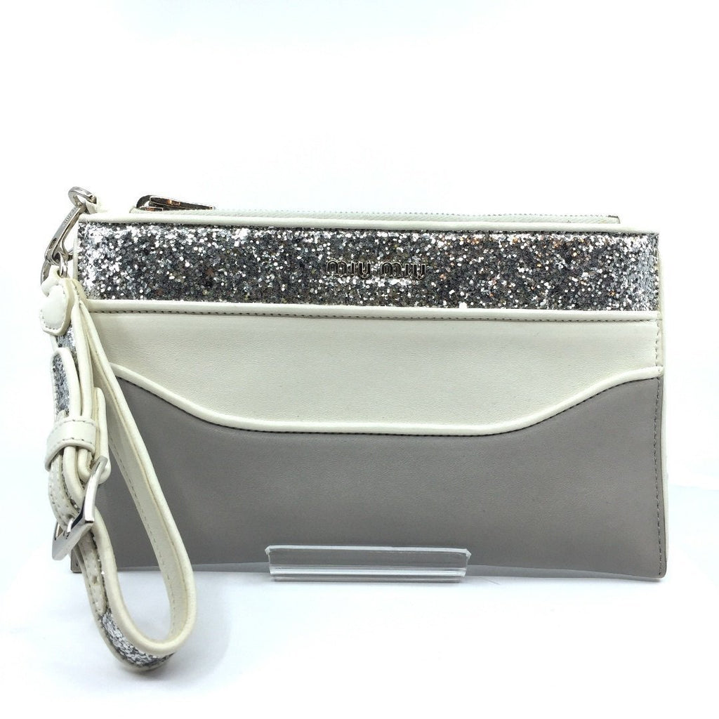 Miu Miu Contenitori Piatto Maniglia Gray and White Glittered Pouch Clutch Wristlet 5NH002 at_Queen_Bee_of_Beverly_Hills