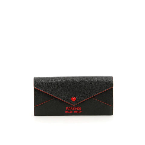 Miu Miu Forever Black Leather Red Lined Wallet 5mh379 at_Queen_Bee_of_Beverly_Hills