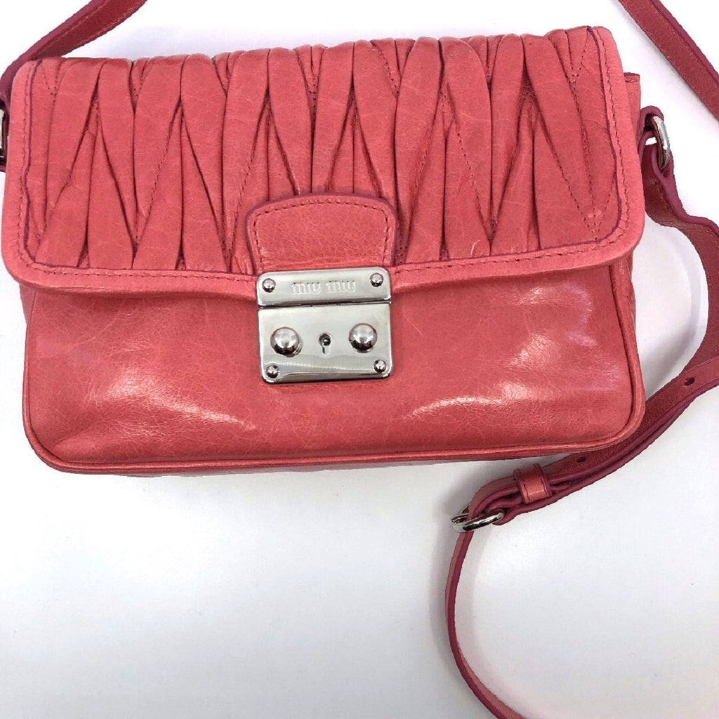 Miu Miu Laguna Pink Matelasse Lux Leather Crossbody Bandoliera Handbag 5BH088 at_Queen_Bee_of_Beverly_Hills