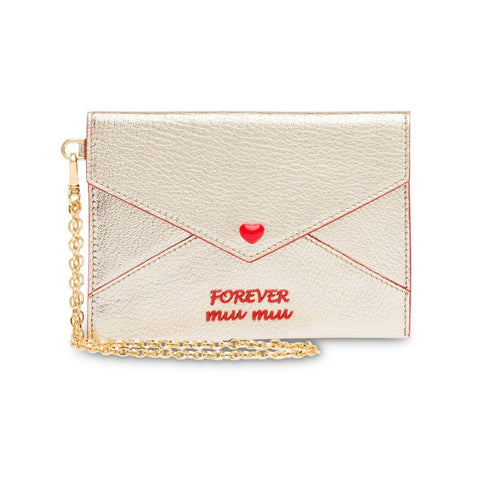 Miu Miu Madras Forever Metallic Gold Envelope Snap Heart Card Case Wristlet 5MF001 at_Queen_Bee_of_Beverly_Hills
