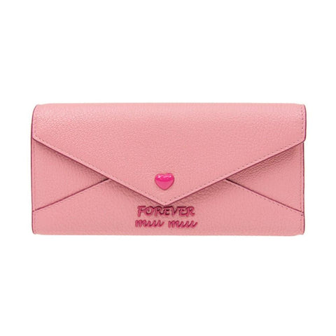 Miu Miu Madras Forever Rosa Pink Long Envelope Snap Pink Heart Leather Wallet 5MH013 at_Queen_Bee_of_Beverly_Hills