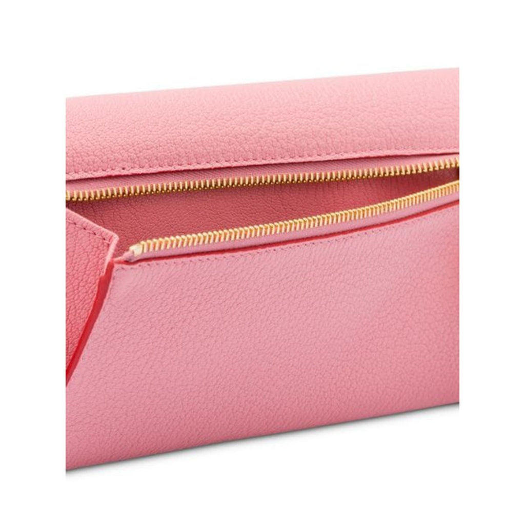 Miu Miu Madras Forever Rosa Pink Long Envelope Snap Red Heart Leather ID Wallet 5MH379 at_Queen_Bee_of_Beverly_Hills