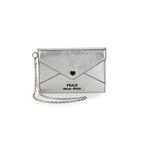 Miu Miu Madras Slim Love Peace Silver Metallic Snap Chain Wristlet Wallet 5MF01P at_Queen_Bee_of_Beverly_Hills