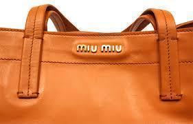 Miu Miu Orange Lambskin Leather Vitello Daino Shopping Tote RR1934 at_Queen_Bee_of_Beverly_Hills