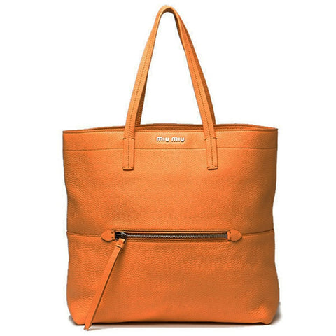 Miu Miu Orange Lambskin Leather Vitello Diano Shopping Tote RR1934 at_Queen_Bee_of_Beverly_Hills