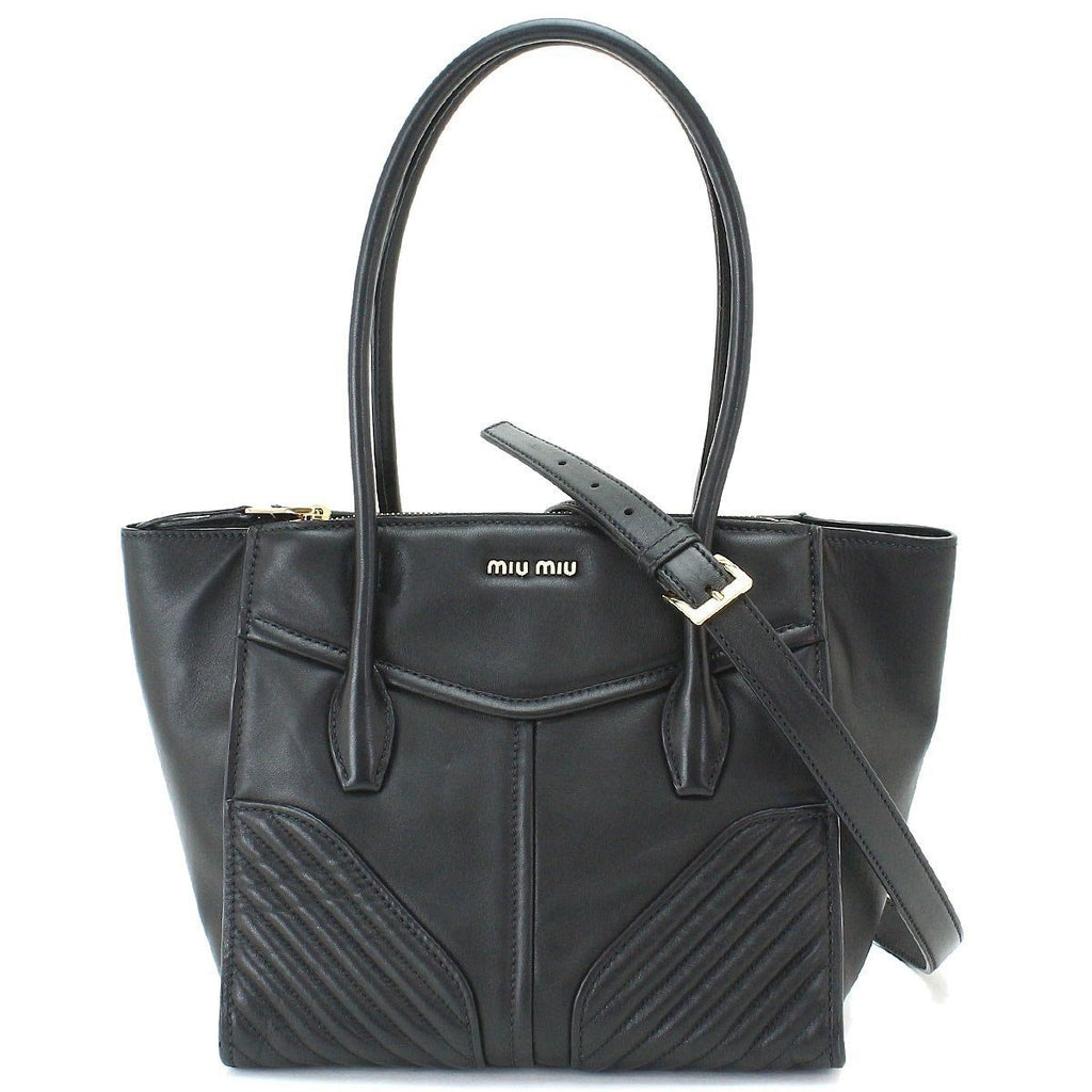 Miu Miu Prada Black Nappa Biker Top Handle Handbag Black Leather Satchel 5BG084 at_Queen_Bee_of_Beverly_Hills