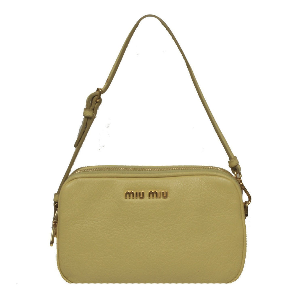 Miu Miu Prada Classic Women's Light Yellow Leather Wristlet Bag 5ARH02 at_Queen_Bee_of_Beverly_Hills