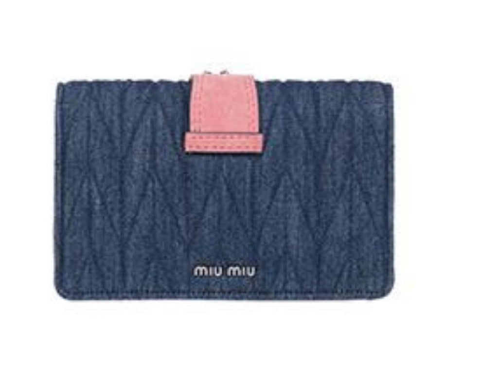 Miu Miu Quilted Blue Denim and Rosa Pink Suede Crossbody with Rhinestone Detail 5BH077 at_Queen_Bee_of_Beverly_Hills