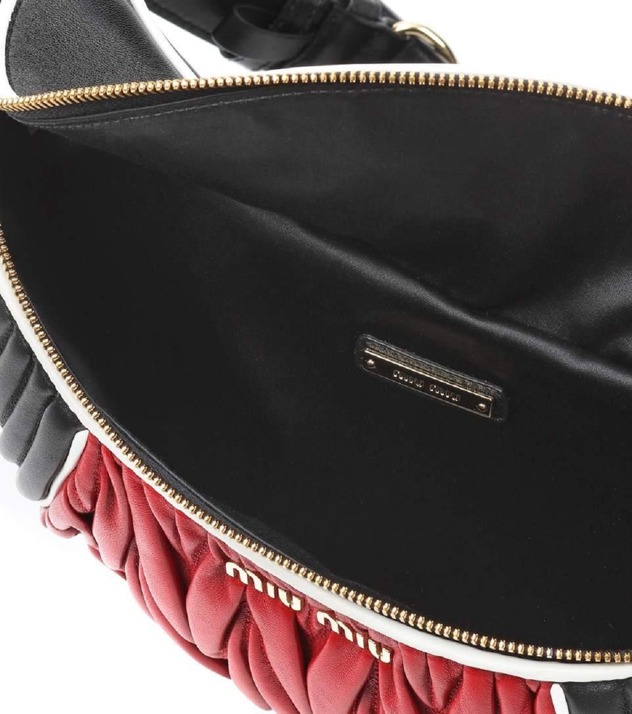 Miu Miu Red and Black Nappa Leather Fanny Pack Pouch Handbag 5BL008 at_Queen_Bee_of_Beverly_Hills