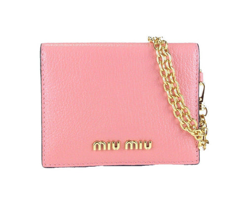 Miu Miu Rosa N Leather Credit Card Holder Madras Chain 5MC320 at_Queen_Bee_of_Beverly_Hills