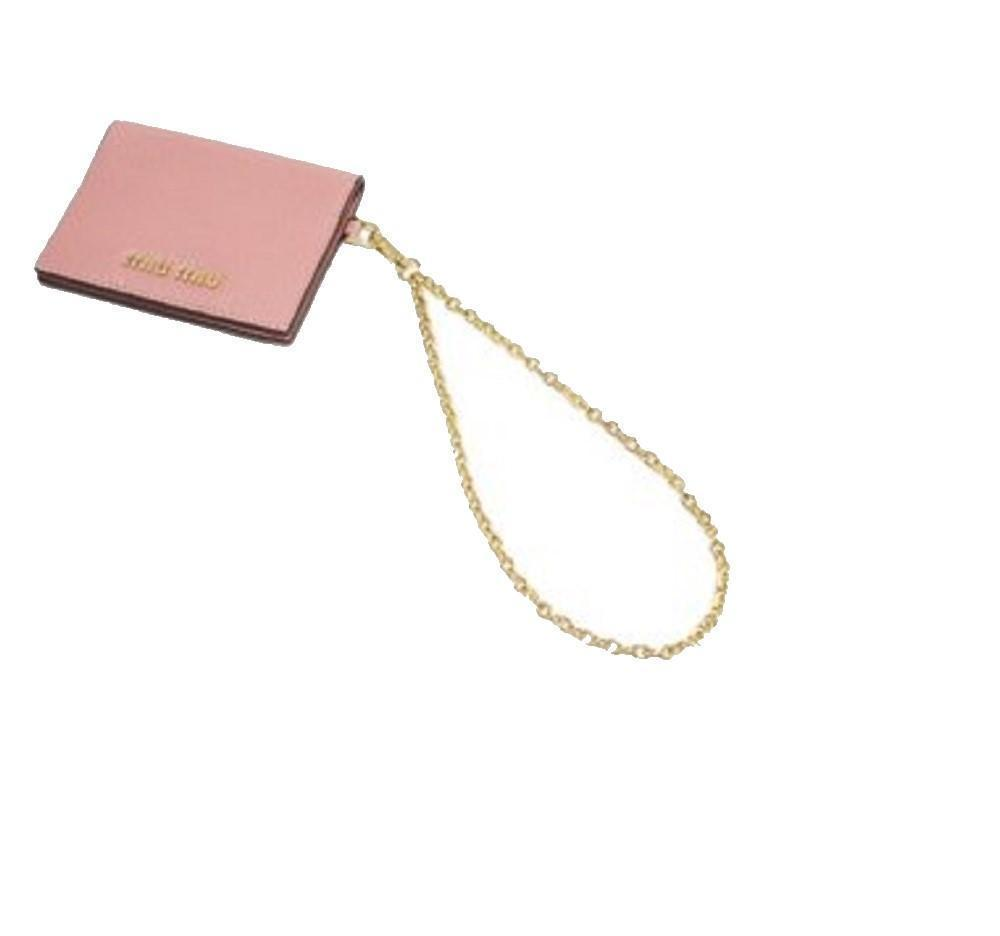 Miu Miu Rosa N Leather Credit Card Holder Madras Chain at_Queen_Bee_of_Beverly_Hills