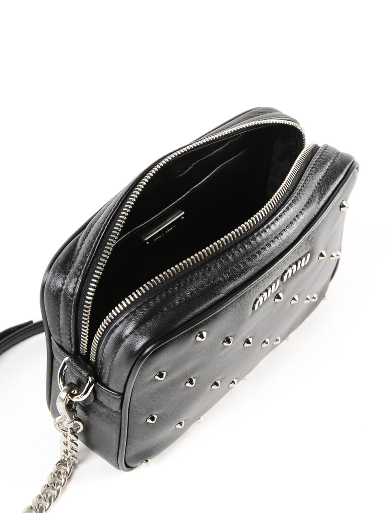 Miu Miu Silver Studs Camera Black Leather Crossbody Bag 5BH118 at_Queen_Bee_of_Beverly_Hills