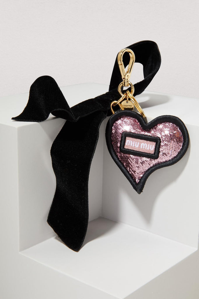 Miu Miu Trick in Pelle Rosa Pink Sequined Heart Key Ring 5TL214 at_Queen_Bee_of_Beverly_Hills