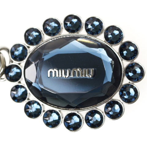 Miu Miu Trick Metallo Oval Crystal Dark Blue Plex Charm Key Chain Key Ring 5TM092 at_Queen_Bee_of_Beverly_Hills