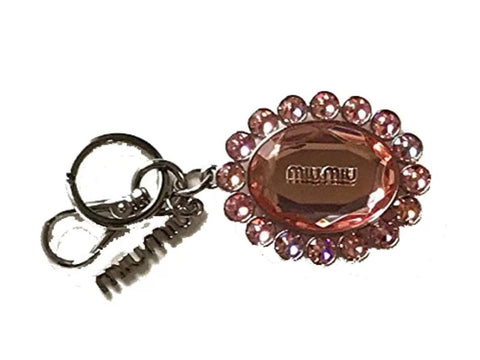 Miu Miu Trick Metallo Rosa Pink Oval Crystal Plex Charm Key Chain Key Ring 5TM092 at_Queen_Bee_of_Beverly_Hills