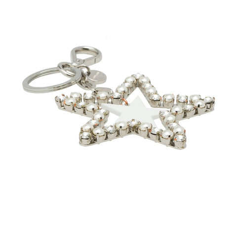 Miu Miu Trick Metallo White Pearl Crystal Star Key Chain Key Ring 5TM072 at_Queen_Bee_of_Beverly_Hills