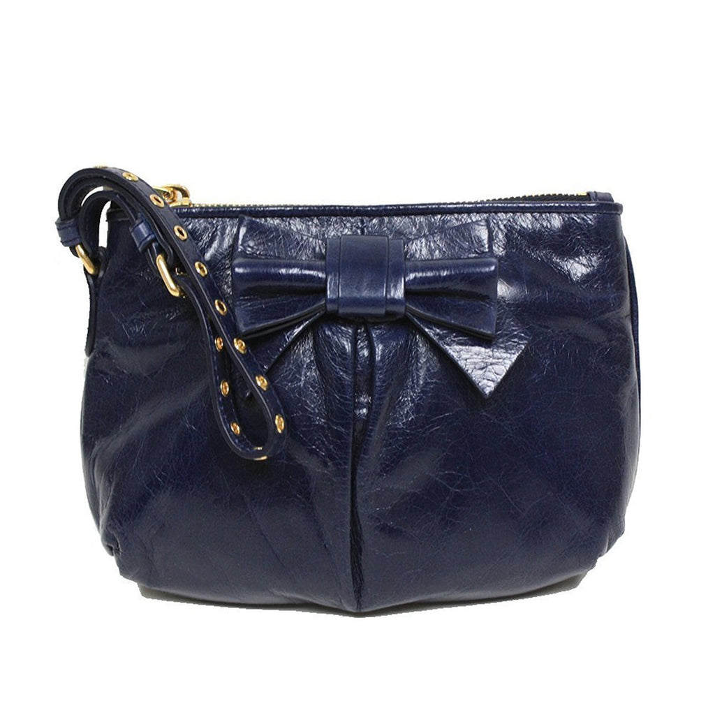 Miu Miu Vitello Lux Navy Blue Leather Bow Small Wristlet Bag 5N1681 at_Queen_Bee_of_Beverly_Hills