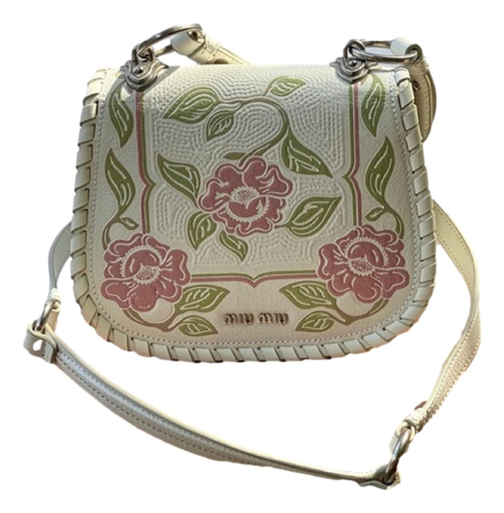 Miu Miu White Madras Flor Small Leather Crossbody Bag 5BD036 at_Queen_Bee_of_Beverly_Hills