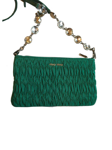 Miu Miu Women's Small Green Faille Crystal Adjustable Strap Crossbody Bag RT0637 at_Queen_Bee_of_Beverly_Hills