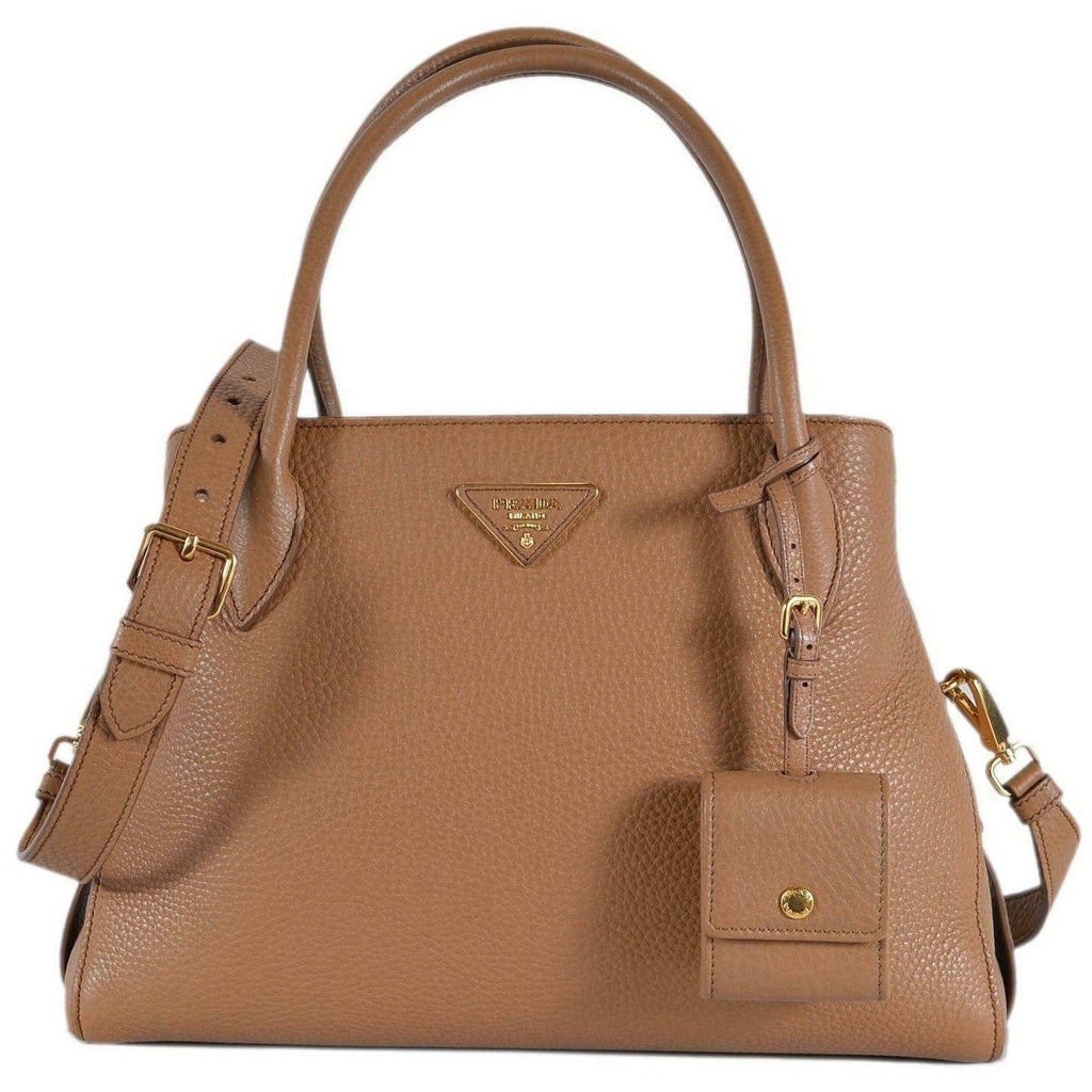 Prada 1BA127 Vitello Daino Leather Center Zip 2-Way Handbag Purse Bag Beige/Brown at_Queen_Bee_of_Beverly_Hills