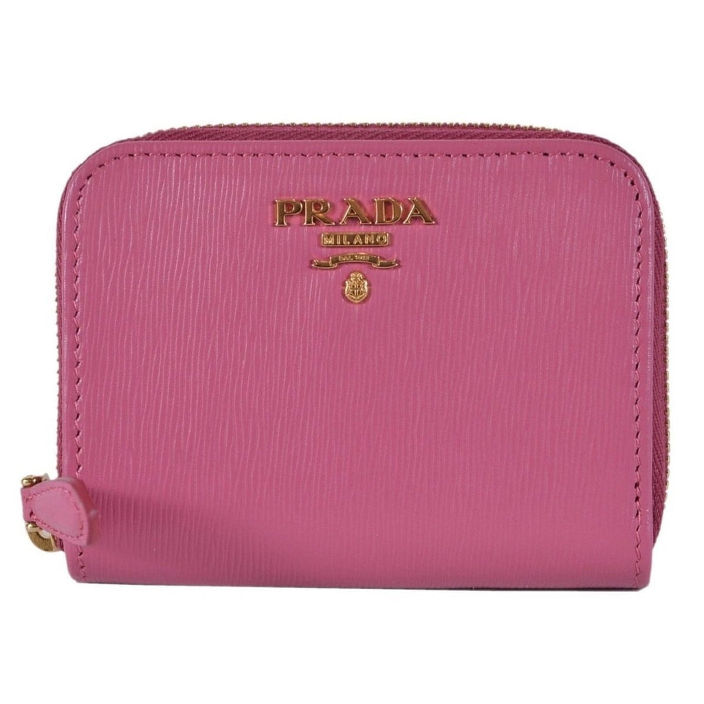 Prada 1MM268 2EZZ Fuxia Pink Saffiano Leather Zip Around Coin Purse Wallet at_Queen_Bee_of_Beverly_Hills