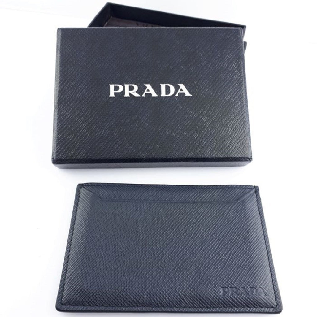 Prada Baltico Navy Saffiano Men's Leather Wallet Credit Card Holder Case Bill 2MC208 at_Queen_Bee_of_Beverly_Hills