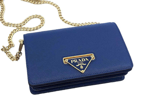 Prada Bandoliera Navy Blue Leather Handbag w Triangle Logo 1BH133 at_Queen_Bee_of_Beverly_Hills