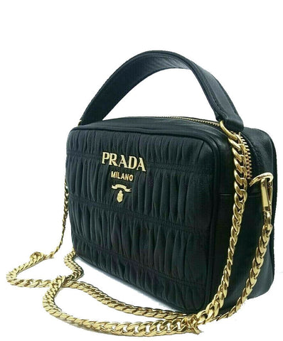Prada Bandoliera Nero Black Nappa Gaufre'1 Quilted Leather Handbag 1BH112 at_Queen_Bee_of_Beverly_Hills