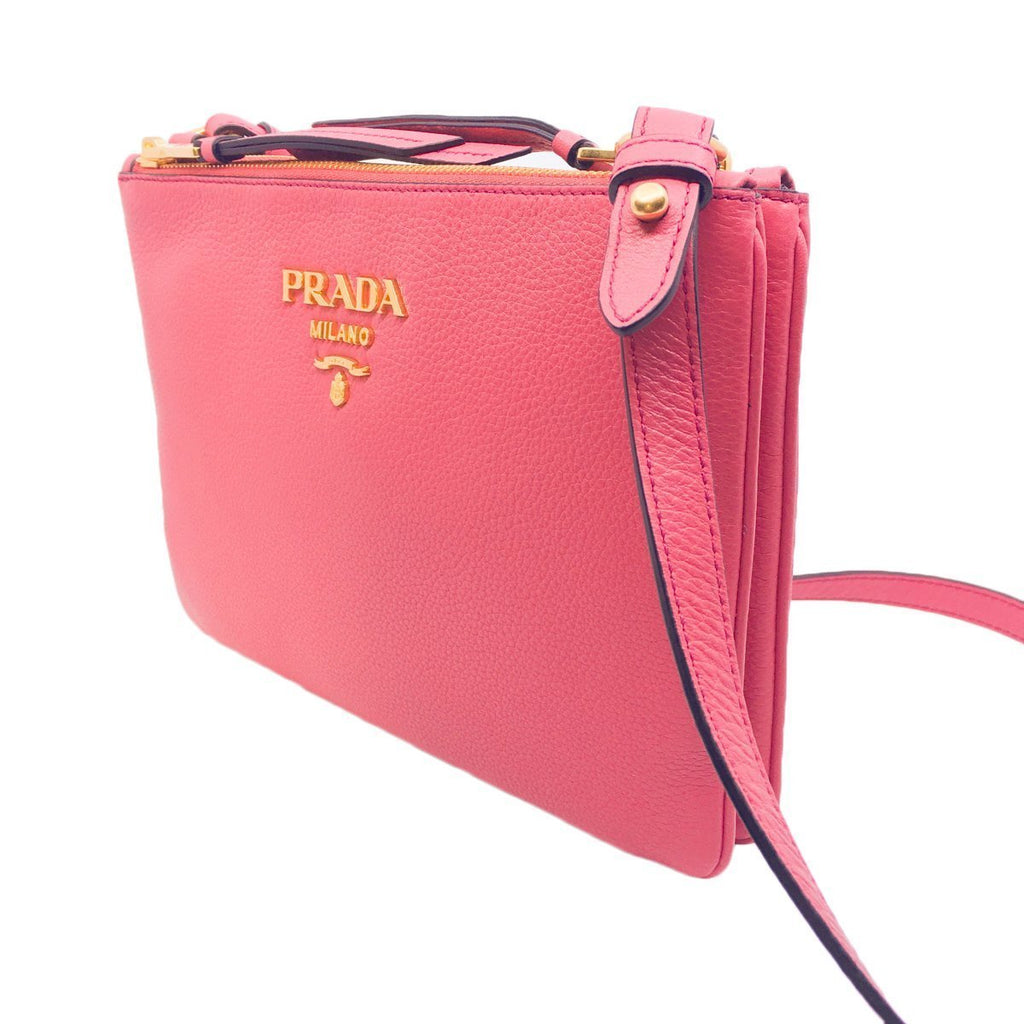 Prada Bandoliera Peonia Pink Pebbled Leather Crossbody Handbag 1BH046 at_Queen_Bee_of_Beverly_Hills